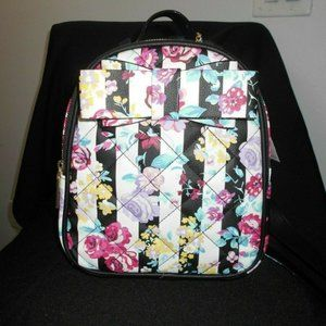 Betsey Johnson BOW FLORAL STRIPED BACKPACK